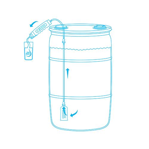 sagan life aquadrum with hand spray pump line drawing how it works